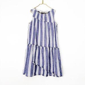 CREWCUTS linen chambray stripe ruffle dress 14 m